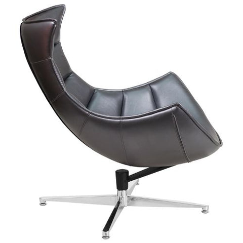 Flash Furniture Gray Leather Swivel Cocoon Chair ZB37GG ; Image 3 ; UPC 889142047858