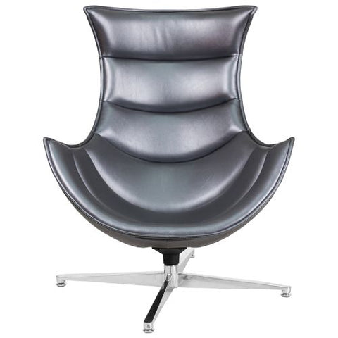 Flash Furniture Gray Leather Swivel Cocoon Chair ZB37GG ; Image 5 ; UPC 889142047858