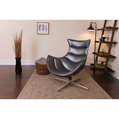 Flash Furniture Gray Leather Swivel Cocoon Chair ZB37GG ; Image 2 ; UPC 889142047858