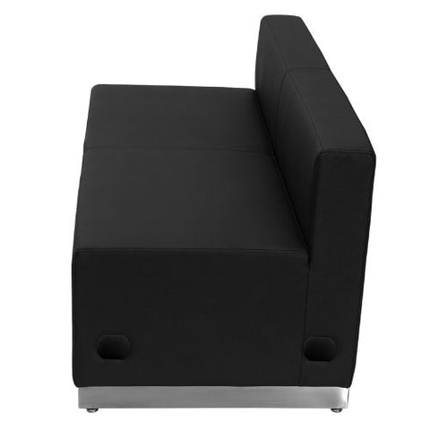 Flash Furniture HERCULES Alon Series Black Leather Loveseat with Brushed Stainless Steel Base ZB803LSBKGG ; Image 2 ; UPC 847254076142