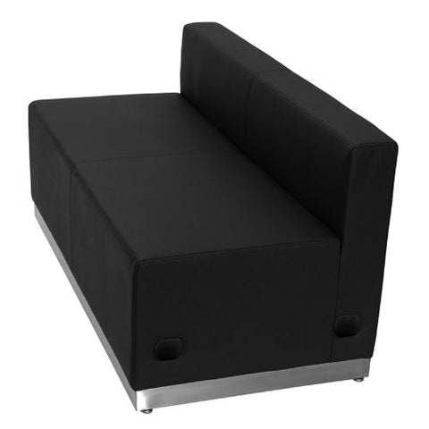 Flash Furniture HERCULES Alon Series Black Leather Loveseat with Brushed Stainless Steel Base ZB803LSBKGG ; Image 3 ; UPC 847254076142