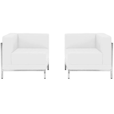 Flash Furniture HERCULES Imagination Series Melrose White Leather 2 Piece Corner Chair Set ZBIMAGSET10WHGG ; Image 1 ; UPC 847254099103