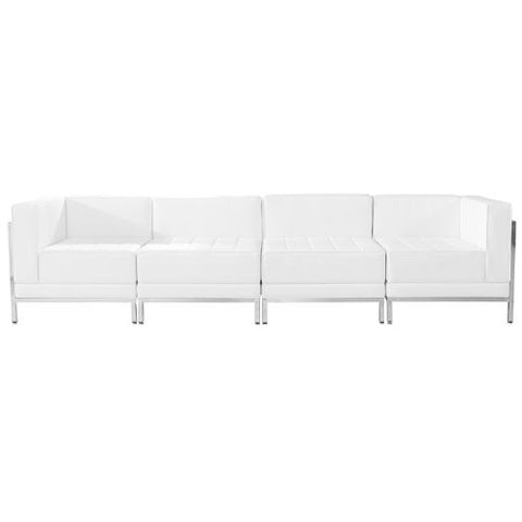 Flash Furniture HERCULES Imagination Series Melrose White Leather 4 Piece Lounge Set ZBIMAGSET8WHGG ; Image 1 ; UPC 847254099080