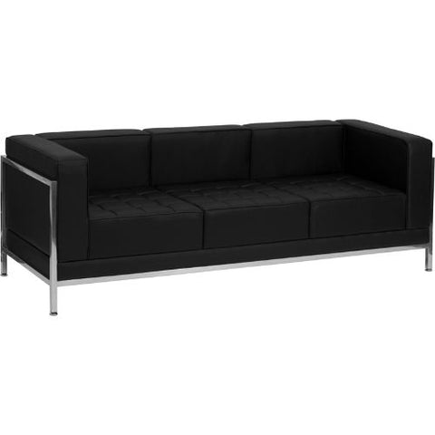 Flash Furniture HERCULES Imagination Series Contemporary Black Leather Sofa with Encasing Frame ZBIMAGSOFAGG ; Image 1 ; UPC 847254017558