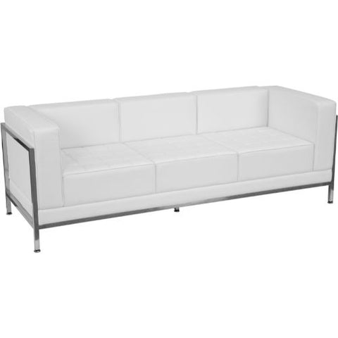 Flash Furniture HERCULES Imagination Series Contemporary Melrose White Leather Sofa with Encasing Frame ZBIMAGSOFAWHGG ; Image 1 ; UPC 847254098571