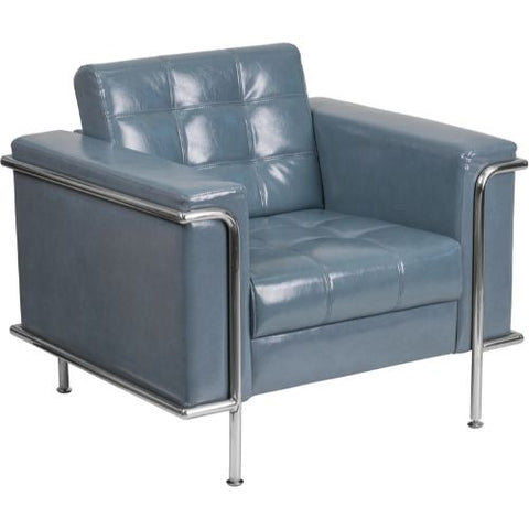 Flash Furniture HERCULES Lesley Series Contemporary Gray Leather Chair with Encasing Frame ZBLESLEY8090CHAIRGYGG ; Image 1 ; UPC 889142075295