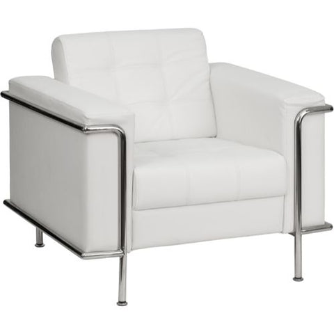 Flash Furniture HERCULES Lesley Series Contemporary Melrose White Leather Chair with Encasing Frame ZBLESLEY8090CHAIRWHGG ; Image 1 ; UPC 847254019644