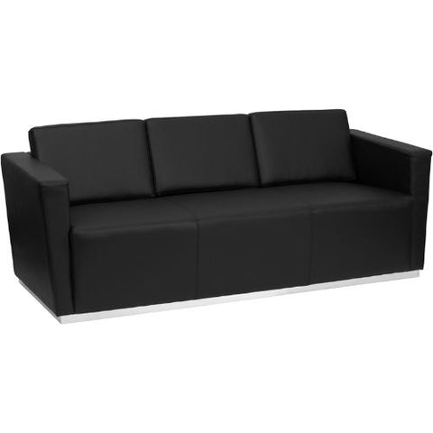 Flash Furniture HERCULES Trinity Series Contemporary Black Leather Sofa with Stainless Steel Base ZBTRINITY8094SOFABKGG ; Image 1 ; UPC 847254016346