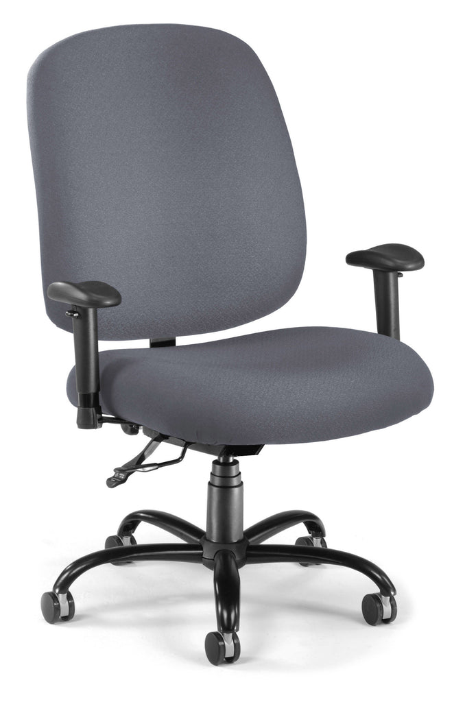OFM Model 700-AA6 Big and Tall Fabric Mid-Back Swivel Task Chair with Arms, Gray ; UPC: 811588015450 ; Image 1