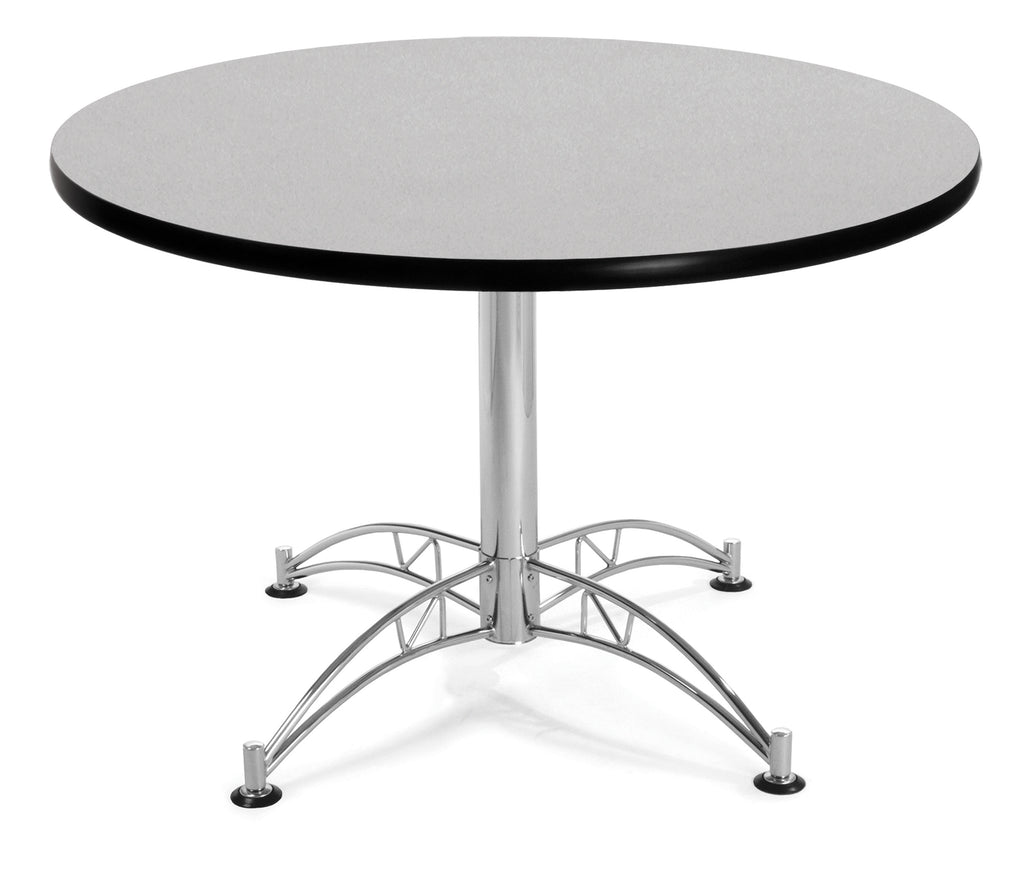 "OFM Model LT42RD 42"" Multi-Purpose Round Table with Chrome-Plated Steel Base, Gray Nebula ; UPC: 811588017706 ; Image 1"