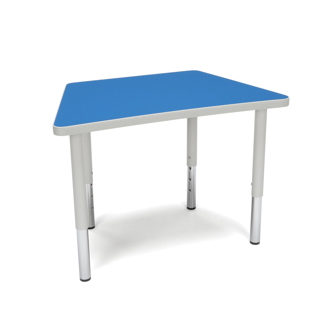 OFM Adapt Series Trapezoid Student Table - 18-26? Height Adjustable Desk, Blue (TRAP-SL) ; UPC: 845123096345 ; Image 1