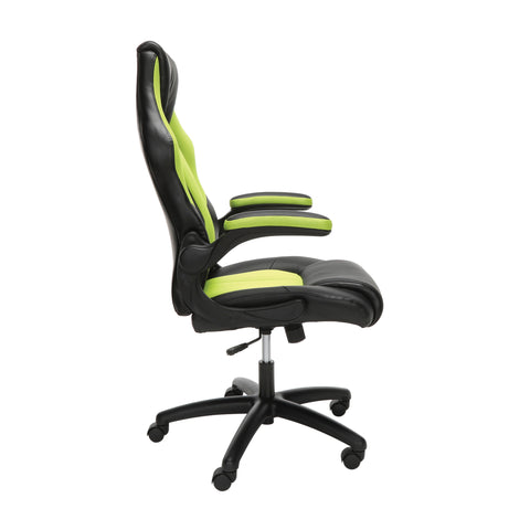 Essentials by OFM ESS-3086 High-Back Racing Style Bonded Leather Gaming Chair, Green ; UPC: 192767001205 ; Image 4