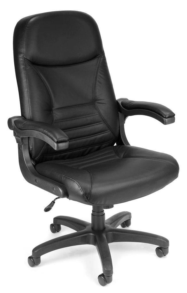 OFM MobileArm Model 550-L Leather High-Back Executive Conference Chair with Flip-up Arms, Black ; UPC: 811588014620 ; Image 1