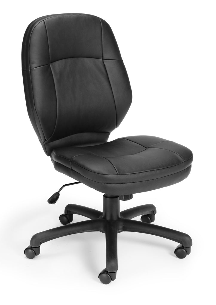 OFM Stimulus Series Leatherette Executive Mid-Back Armless Chair, in Black (521-LX-T) ; UPC: 845123012284 ; Image 1