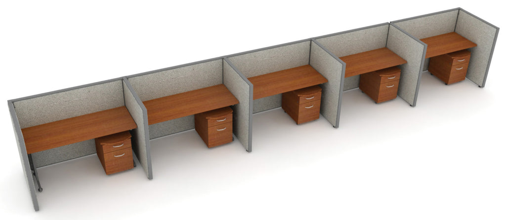 "OFM RiZe Series 47"" x 60"" 5-Unit Full Vinyl Privacy Station Panel System, 1 x 5 Configuration, Gray with Cherry Desk ; UPC: 845123001769 ; Image 1"