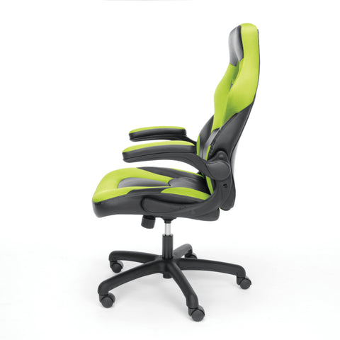 OFM Essentials Collection Racing Style Bonded Leather Gaming Chair, in Green (ESS-3085-GRN) ; UPC: 845123089293 ; Image 5