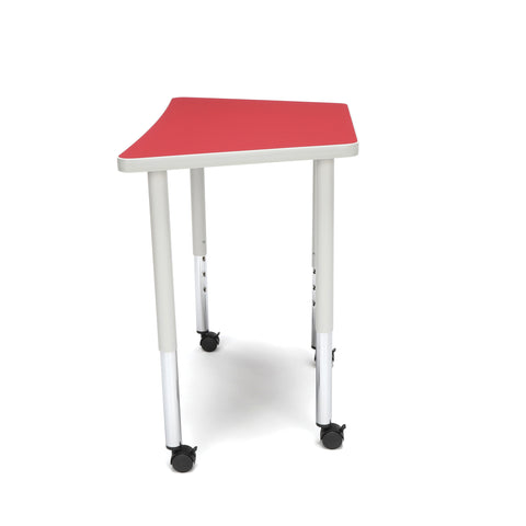 OFM Adapt Series Trapezoid Standard Table - 25-33? Height Adjustable Desk with Casters, Red (TRAP-LLC) ; UPC: 845123096727 ; Image 5