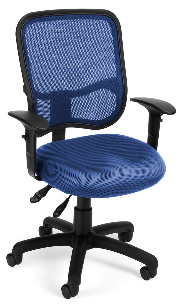 OFM Comfort Series Model 130-AA3 Ergonomic Mesh Swivel Task Chair with Arms, Mid Back, Navy ; UPC: 845123011690 ; Image 1