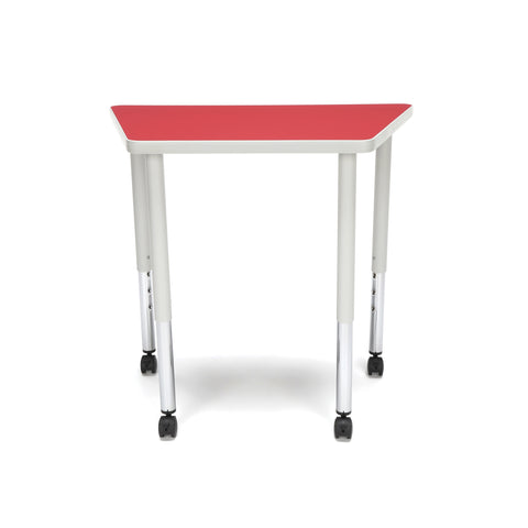 OFM Adapt Series Trapezoid Standard Table - 25-33? Height Adjustable Desk with Casters, Red (TRAP-LLC) ; UPC: 845123096727 ; Image 3