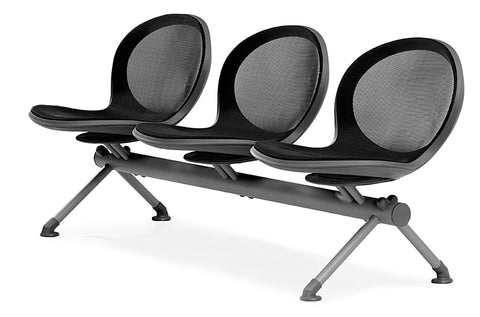 OFM NB-3-BLACK Net Series Beam Seating with 3 Chairs, Black ; UPC: 845123025857 ; Image 1