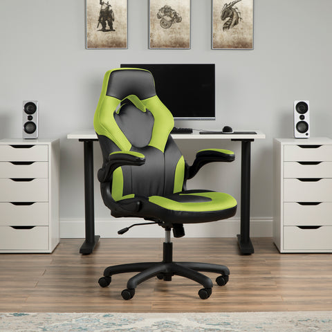 OFM Essentials Collection Racing Style Bonded Leather Gaming Chair, in Green (ESS-3085-GRN) ; UPC: 845123089293 ; Image 14