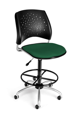 OFM Stars Series Model 326-DK Armless Fabric Swivel Task Chair and Drafting Kit, Forest Green ; UPC: 845123013519 ; Image 1