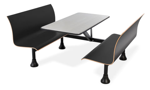 "OFM Model 1006W Retro Bench Table with End Support, 24"" Stainless Steel Top, Black Seats ; UPC: 845123027769 ; Image 1"