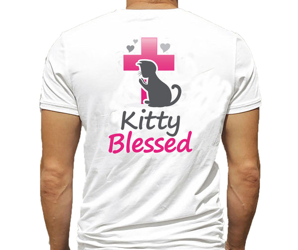T-Shirt - Kitty Blessed w/hearts - Black or White