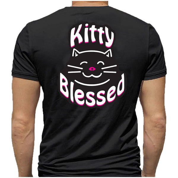 T-Shirt - Kitty Blessed Smiling - Black or White