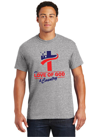 T-Shirt - For Love of God & Country - Gray or White