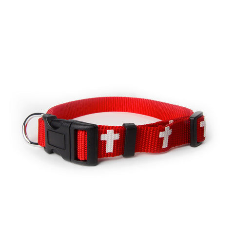 Non-Padded Collar - Cross - Red