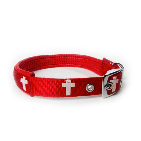 Padded Collar - Cross - Red