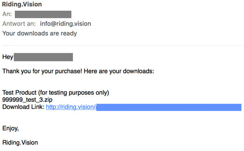 The download link is sent to you by email as well.