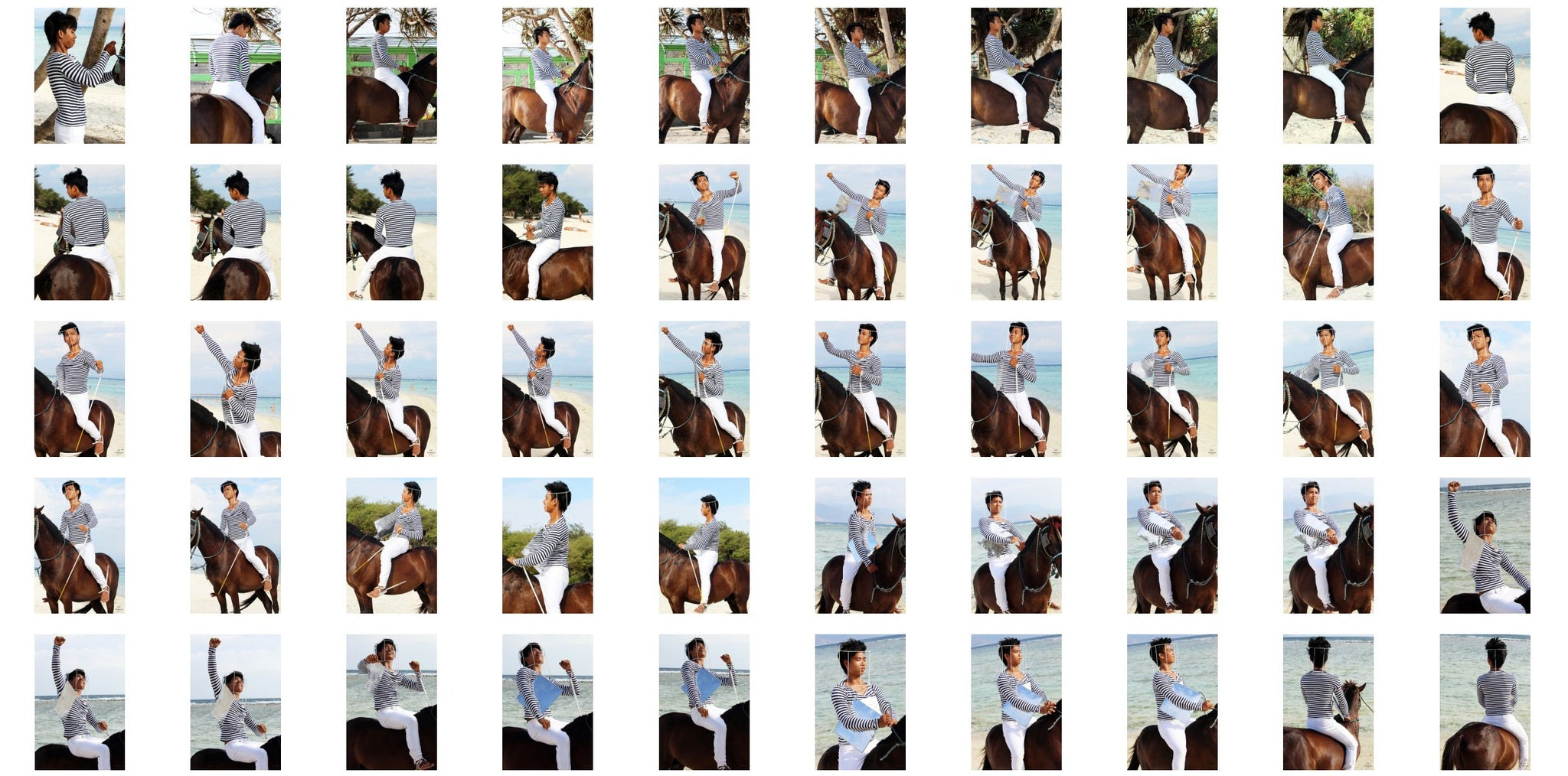 Intan in Striped Shirt, Jodhpurs, Lampsheed and Drawing Pad Riding Bareback on Brown Horse, Part 1 - Riding.Vision