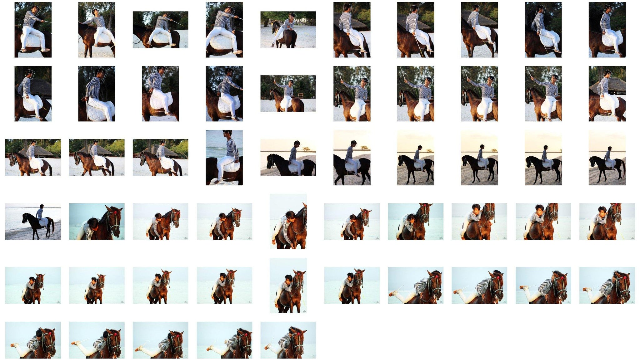 Intan in Striped Shirt and Jodhpurs Acrobating with Wand Bareback on Brown Horse, Part 1 - Riding.Vision
