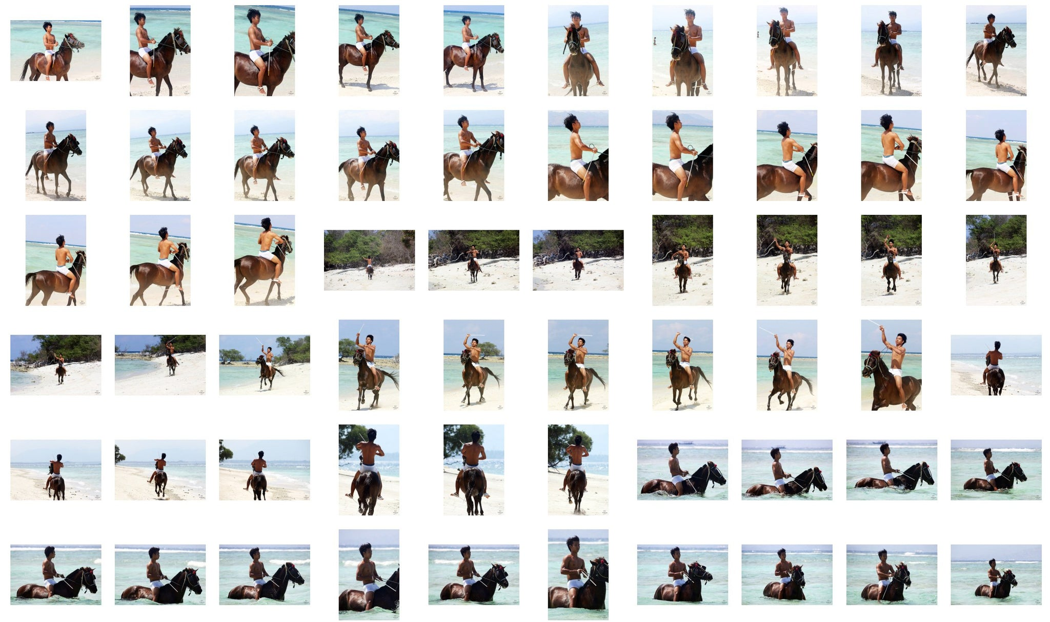 Intan in Briefs Riding Bareback on Brown Horse - Riding.Vision