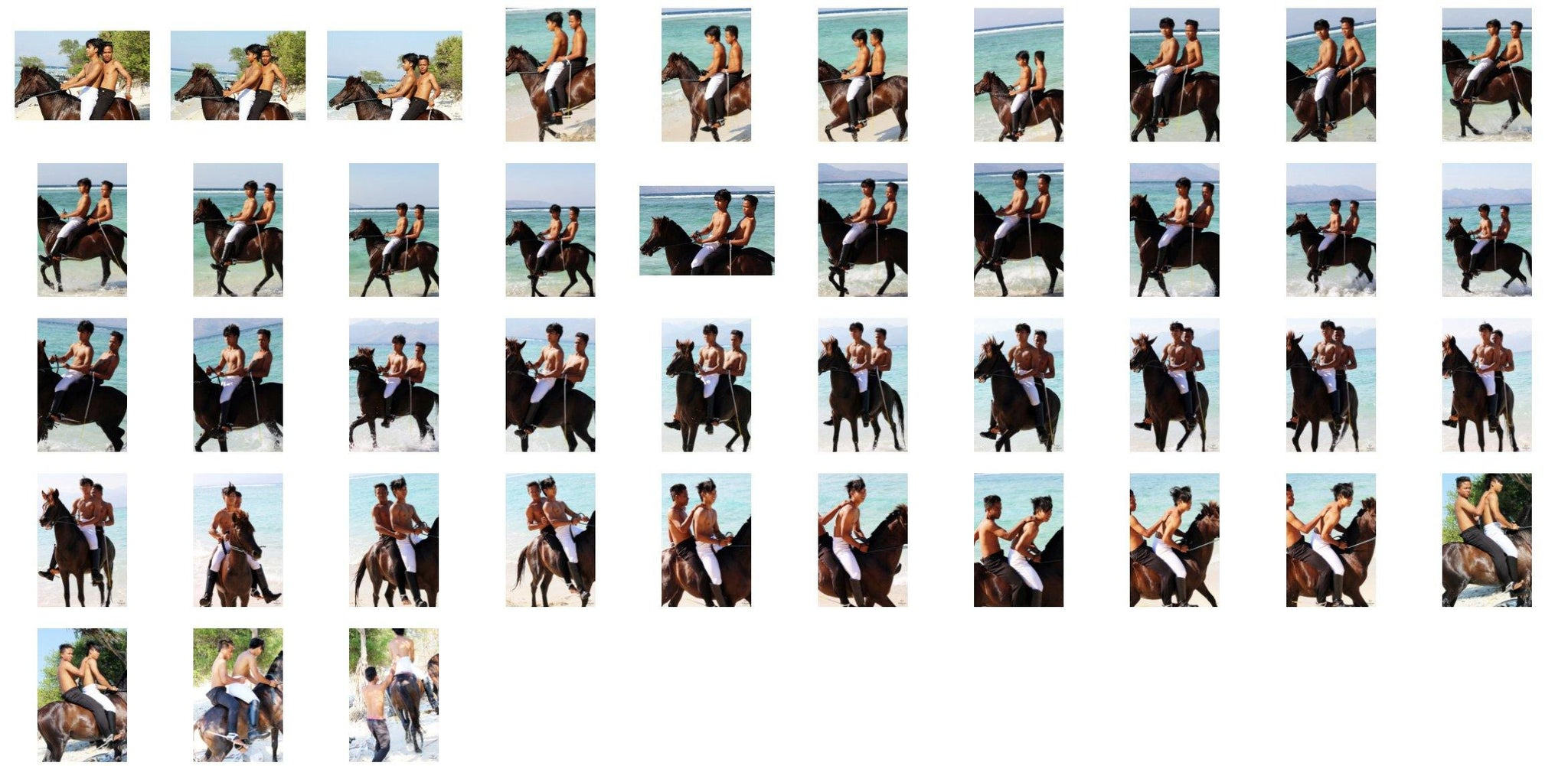 Intan and Emas in Jodhpurs and Ridingboots Bareback Double Riding on Brown Horse - Riding.Vision