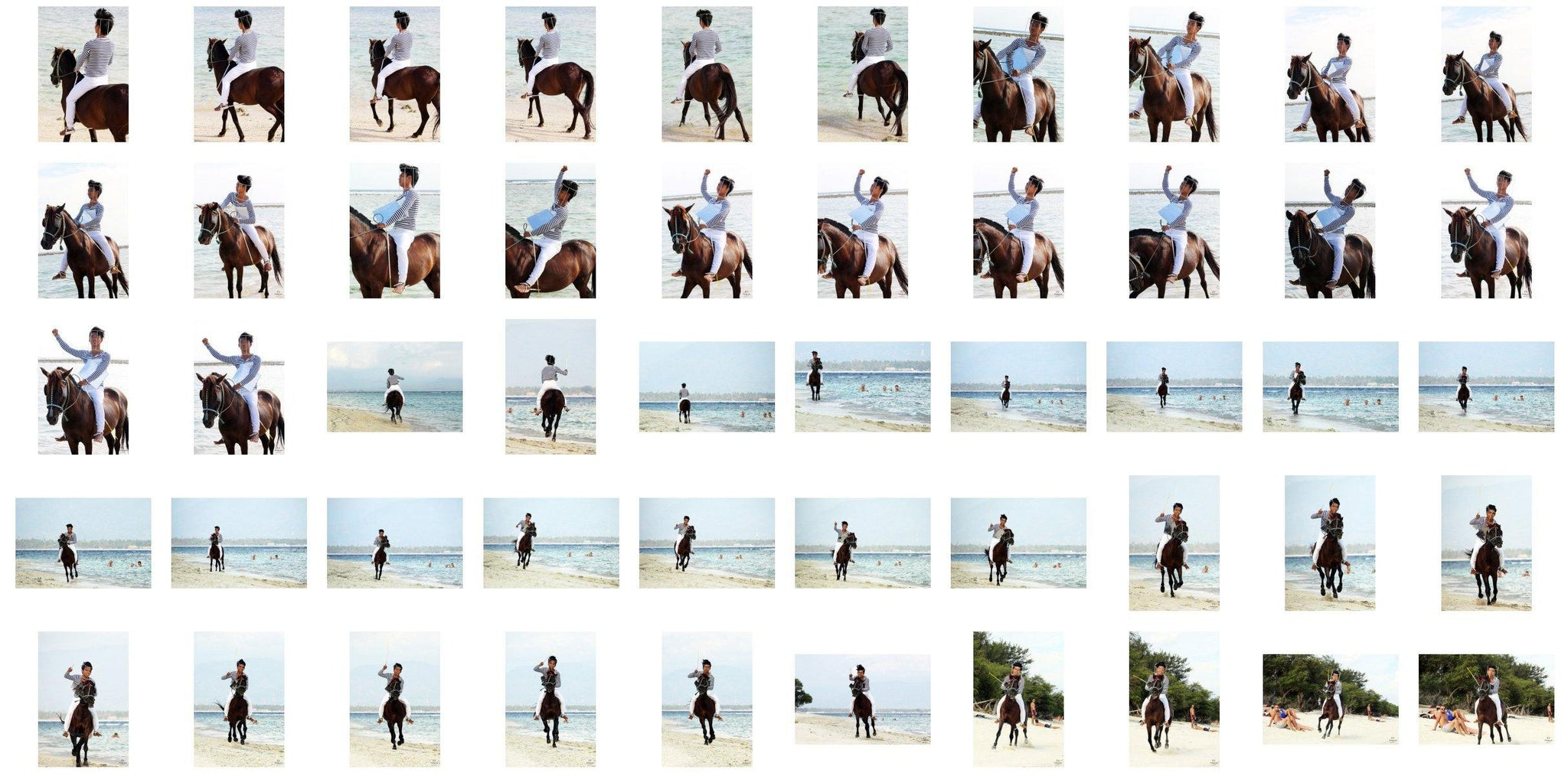 Intan in Striped Shirt, Jodhpurs, Lampsheed and Drawing Pad Riding Bareback on Brown Horse, Part 2 - Riding.Vision