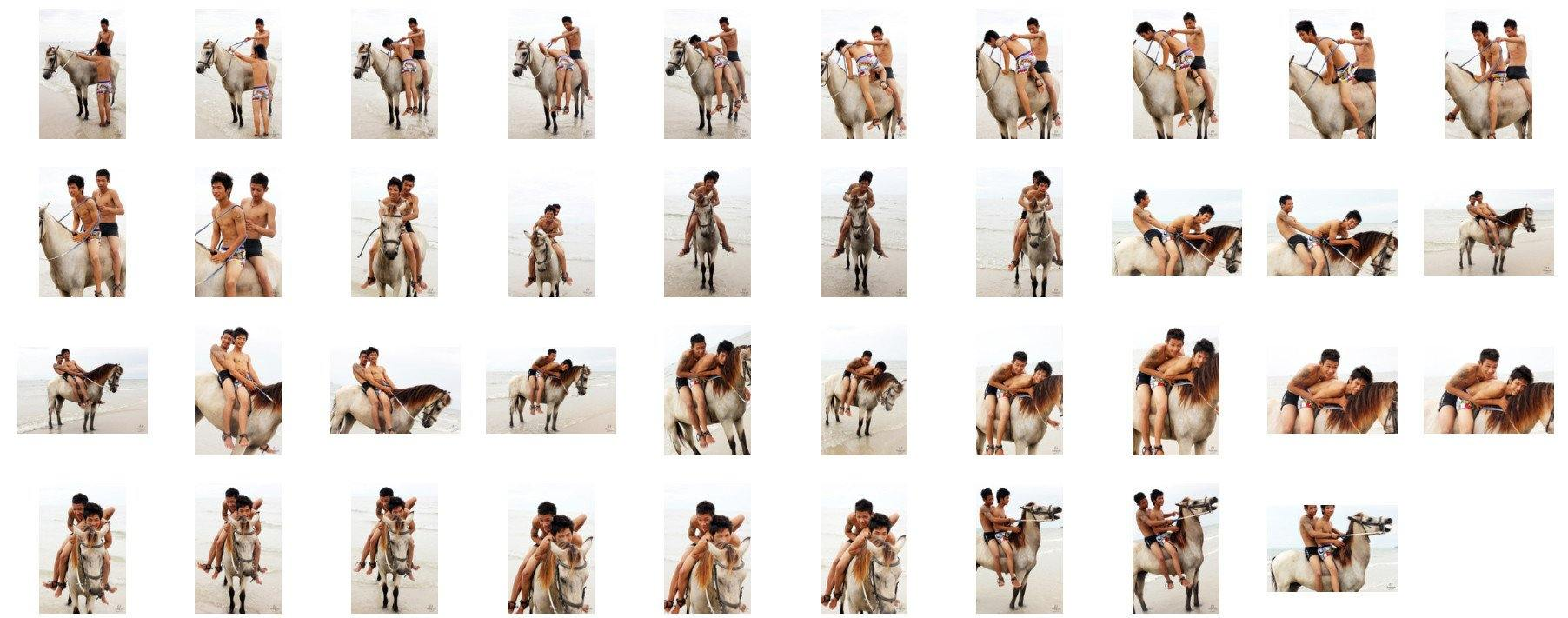 David and Thaksin in Shorts Riding Bareback and Double on Buckskin Horse, Part 3 - Riding.Vision