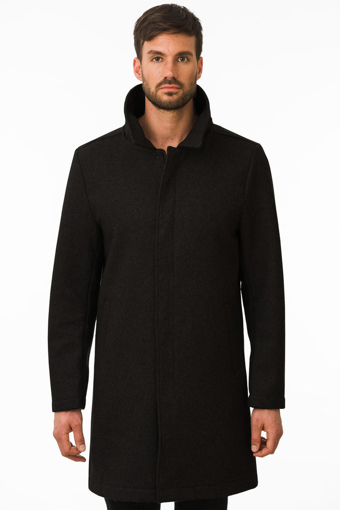 Black Waterproof Wool Coat