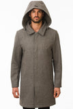 Grey Waterproof Wool Coat Hood
