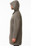 Grey Waterproof Wool Coat Side
