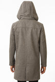 Grey Waterproof Wool Coat Back