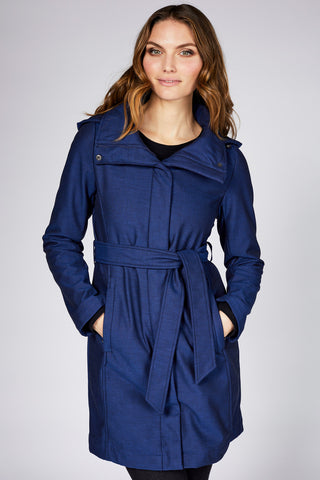 Ava is a modern indigo blue rain jacket for women by Mia Melon