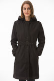 Black Hooded Waterproof Trench Coat by Mia Melon