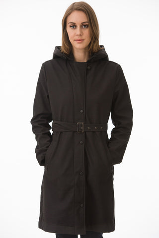 Black Hooded Waterproof Trench Jacket