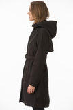 Black Hooded Waterproof Trench Jacket Side