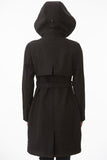 Black Hooded Waterproof Trench Jacket Back