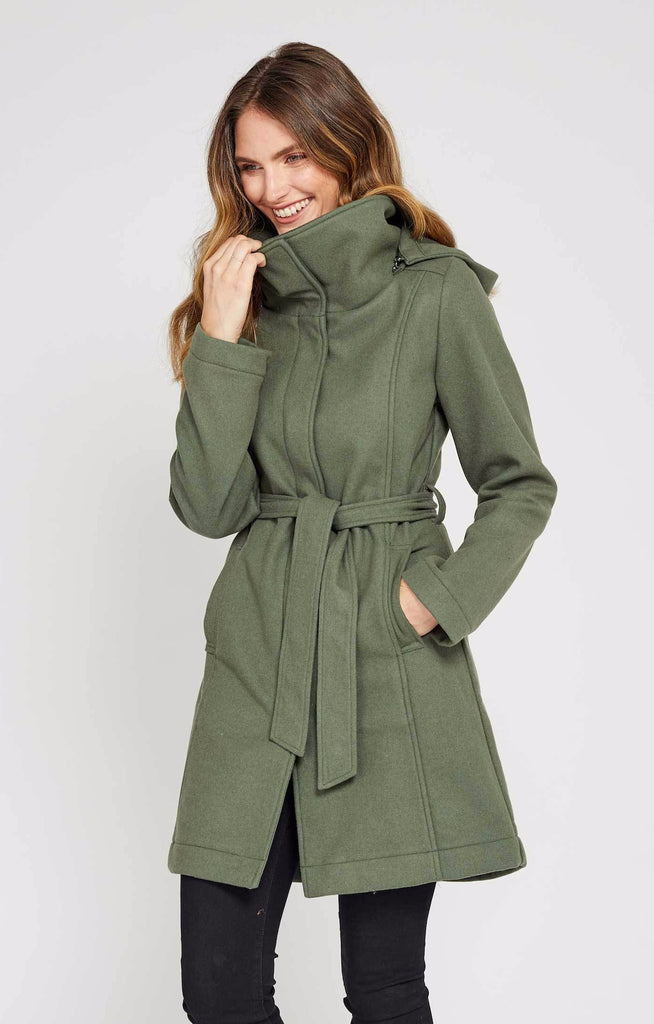 Lexi is a Moss Green Waterproof Wool Coat by Mia Melon
