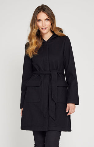 Lori is a Black Stylish Waterproof Wool Coat by Mia Melon